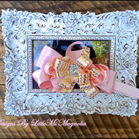 "Pink and Gold Headband ""Posh"" for Little Girls, Baby Girls and Toddler Girls, Photo Prop"