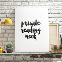 "Modern Bath Art ""Private Reading Nook"" Typography Print Wall Art Home Decor Humorous Bathroom Art Bathroom Decor Bath Art Bathroom quote"