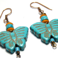 Turquoise Butterfly Beaded Earrings Bohemian Jewelry
