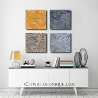 Industrial Metal Abstract Painting / CUSTOM 4 set of paintings / 15x 15 / concrete and metal paintings / Iron, Silver, bronze gold