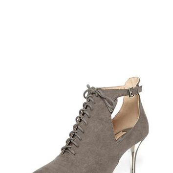 Grey 'Abba' Pointed Ankle Boots - Heels - Shoes & Boots