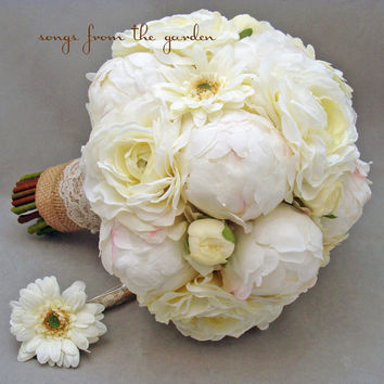 Burlap & Lace Peony Ranunculus Gerbera Silk Flower Bridal Bouquet Groom's Boutonniere White Bud Peonies Silk Ranunculus White Gerber Daisies