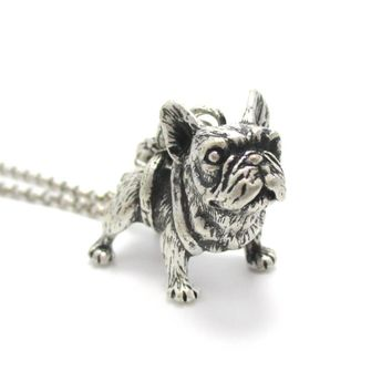 3D French Bulldog Standing Puppy Dog Shaped Animal Pendant Necklace | Jewelry for Dog Lovers