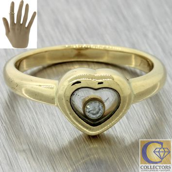 Vintage Estate Chopard 18k Yellow Gold Happy Diamond .04ct Heart Cocktail Ring