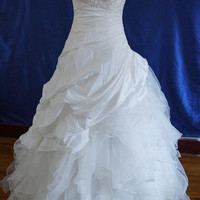 White Floor-length Taffeta/Organza wedding dress ball gowns Bridesmaid Dress Evening Prom Dress
