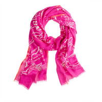Wool-silk map scarf - scarves & hats - Women's accessories - J.Crew