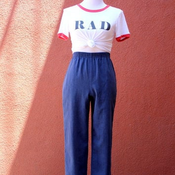 Vtg 80's High Waist cropped cotton poly blend Trousers navy Pockets pants Medium elastic waistband