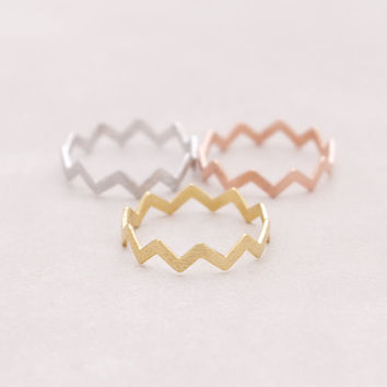 2017 New GOLD Filed ZIG ZAG BAND THUMB RING Midi Circuitous Ring Turns Rings for Women R032