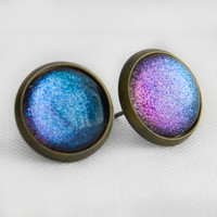 Dreamscapes Post Earrings in Antique Bronze - Purple and Blue Shimmery Colour Shifting Studs