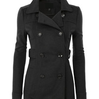 LE3NO Womens Long Button Down Double Breasted Peacoat Jacket With Pockets