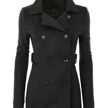 LE3NO Womens Long Button Down Double Breasted Peacoat Jacket With Pockets (CLEARANCE)