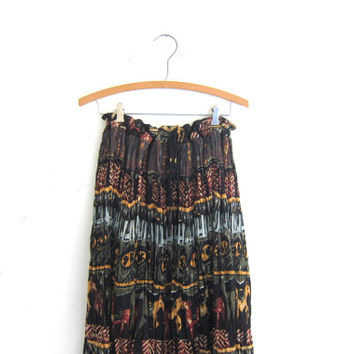 Vintage Boho crinkle Skirt / breezy animal print skirt // long drawstring skirt // Made in India sheer Hippie skirt