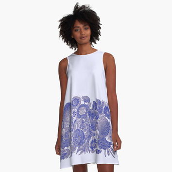 'Vintage Blue Flowers on Pale Background' A-Line Dress by Greenbaby