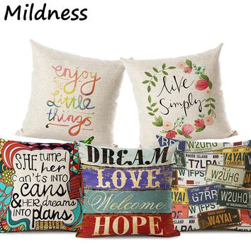 Funny Pattern Letter Printed Cotton Linen Pillow Case Decorative Office Home Throw Pillow Cover Coussin Cojines Almofada