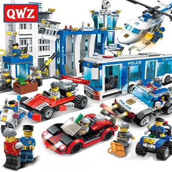 QWZ City Police Building Blocks Compatible Legoings City Helicopter Figures Bricks Assembled Toys Educational Children Gifts