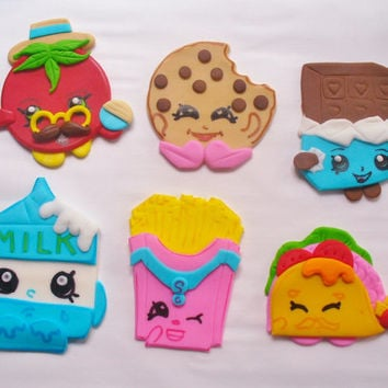 12 SHOPKINS  Edible Fondant Cupcake Toppers Set 2