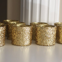 9 Gold Glitter Votive Candle Holders, Gold Centerpiece, Gold Candle Holders, Votive Candles, Gold Wedding Centerpiece, Gold Vase,Centerpiece