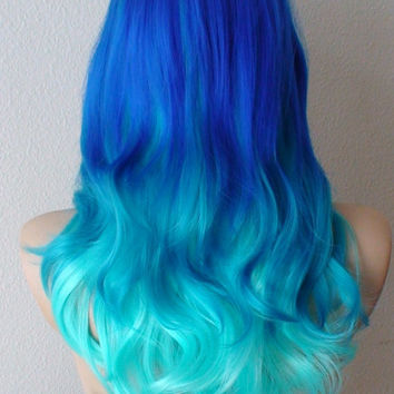 Summer Special // Blue wig. Electric blue / Turquoise / Teal  3 colors Ombre wig.  Curly / Wavy hair mouti-blue colored long side bangs wig.