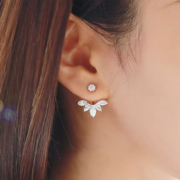 SALE! Big Crystal Silver color Jewelry High Quality Leaf Ear Clips Stud Earrings For Women 1 Pair