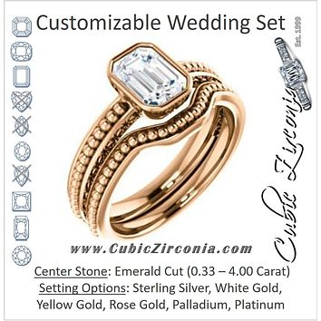 CZ Wedding Set, featuring The Cheyenne engagement ring (Customizable Emerald Cut Bezel-set Solitaire with Beaded Filigree Three-sided Band)