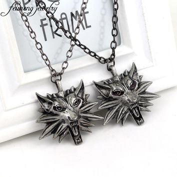 Wizard Witcher 3 Medallion Necklace Wolf Head Pendant Wild Hunt Figure Game Cosplay Jewelry High Quality Gothic Choker Necklace