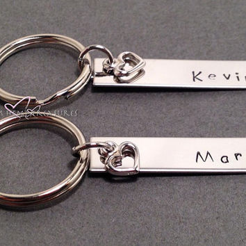 Stamped Keychains, Name Keychains, Rectangle Keychains, Couples Keychains, Heart Charm, Personalized Keychains
