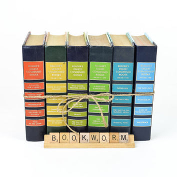 Rainbow Colored Decorative Book Stack  / Reader's Digest Set