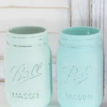 Mason Jars, Party Decor, Shabby Chic, Baby Shower Decor, Pastel Painted Jars, Set of 2 Jars, Rustic Decor, Party Centerpiece, Country Decor