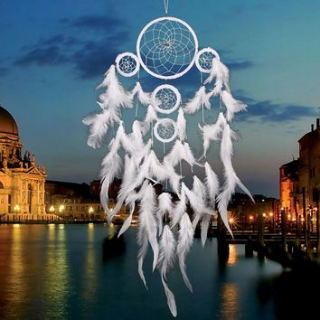 Dreamcatcher Decor White Feather Dream Catcher Net Wall Hanging Decoration Craft India Style House Decoration