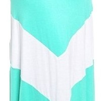 Independent Womens Zig Zag Chevron Colorblock Maxi Skirt Mint White