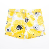Rosalita Senioritas - Girls Yellow Flowers Adelfa Shorts, White