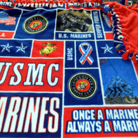USMC Marine Corps Fleece Tie Blanket - X-Large