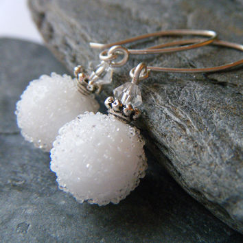 Snow White Earrings - Winter Jewelry, Lampwork Glass Beads, Argentium Sterling Silver, OOAK - 'Snowball'