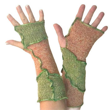 Woodland Arm Warmers, Upcycled Clothing, Green Fingerless Gloves, Upcycled Arm Warmers, OOAK Arm Warmers,  Green Arm Warmers, Gift for Her