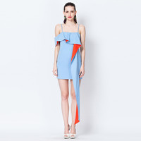 Casual Blue Flounce Long Ribbon Cocktail Dress