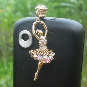 1PC Bling Crystal Dancing Girl Cell Phone Earphone Jack Anti dust Stopper for iPhone 5,5s,Samsung S3,S4, Nokia HTC  Smart Phone Charm