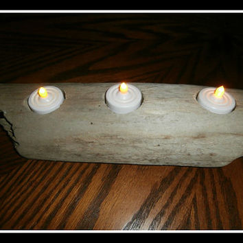 Driftwood Candle Holder W/ LED Candles Rustic Decor Driftwood Art-Night Light