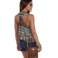 Rust and Mint Ay Chica Envelope Tank