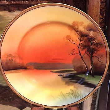 Noritake Porcelain Hand Painted Sunset Over Japan Yellow  Desert Plates