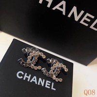 HCXX 19Sep 042 Stitching asymmetric rhinestone earrings