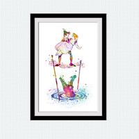 Peter Pan watercolor art print Peter Pan and Wendy colorful poster Disney art decor Home decoration Kids room decor Nursery room art W510