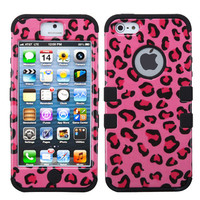 Apple iPhone 5 5S Hard Hybrid Case Cover Pink Leopard / Black Silicone TUFF M