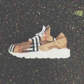 """NIKE""AIR Custom Burberry Huaraches Running Sport Casual Shoes Sneakers"