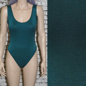 90s swimsuit green metallic one piece / grunge hipster boho festival gypsy pastel goth 70s bodysuit club kid top M L