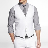 WHITE COTTON SATEEN SUIT VEST