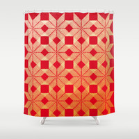 Fire Shower Curtain by Gréta Thórsdóttir  #scandinavian #snowflake #heat, #passion #red #gold #pattern #bathroom