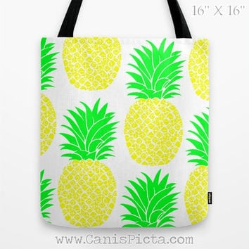 Pineapple Tote Bag 13x13 Graphic Pop Culture Fun Passion Fruit Gift Hot Green Neon Yellow Lime Unique Pattern Purse Carry All Reuse Special