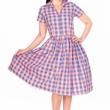Francis Dress in Pink and Blue Plaid