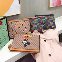 GUCCI Hot Fashion Women's Printed Letter Cartoon Cosmetic Bag Briefcase
