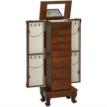 Elegant 7-Drawer Jewelry Cabinet Armoire with Mirror in Chestnut Finish